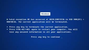 Die Mutter aller Fehlermeldungen: Der Bildschirm eines abgestürzten Windows-PC. (Themenbild)