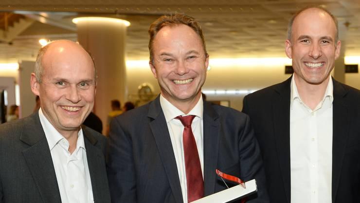 Von l. nach r.: Guido Blokesch (Head R&D Ampegon PPT GmbH), Josef Troxler (CEO Ampegon Gruppe), Marcel Frei (Head R&D Ampegon AG)