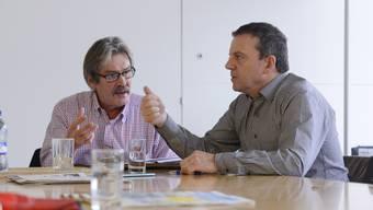 Der amtierende SP-Ständerat Roberto Zanetti (links) und Herausforderer Walter Wobmann kämpfen um den letzten Solothurner Ständeratssitz. (Archiv)