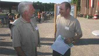 Urs Kuhn (links) verlässt nach 10-jähriger Tätigkeit das Naturama Aargau, sein Nachfolger ist Thomas Flory.