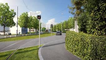 Eine Visualisierung der Limmattalbahn in Schlieren, Kreuzung Spitalgasse.