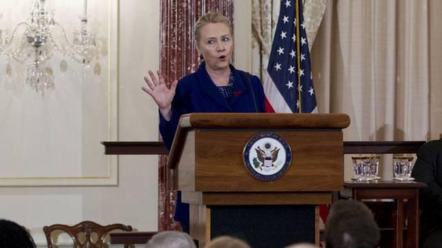 US-Aussenministerin Hillary Clinton bei der Vorstellung eines Aktionsplanes gegen Aids