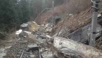 Hier sind grosse Räumungsarbeiten angesagt (Bild: Rhätische Bahn AG)