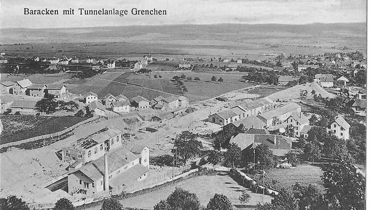 Eine frühe Baustelle der Moutier-Lengnau-Bahn MLB auf Grenchner Boden.