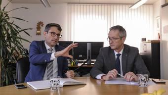Die Gesundheitsdirektoren Lukas Engelberger (l.) und Thomas Weber warnen vor einem Nein am 10. Februar zur Spitalfusion beider Basel.