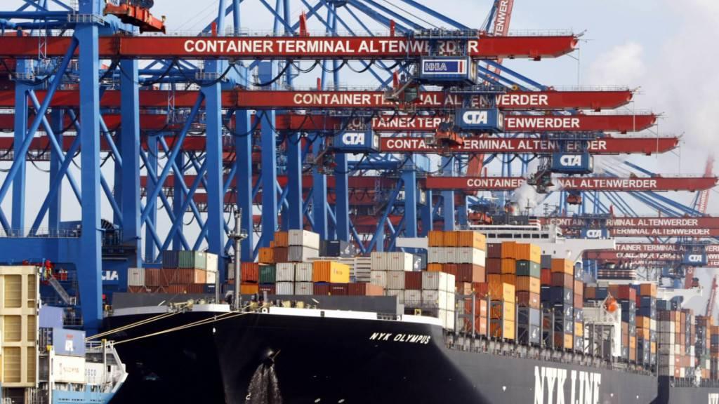 Die Wirtschaft der Eurozone ist im dritten Quartal wieder stark gewachsen - im Bild ein Containerschiff im Hamburger Hafen. (Archivbild)