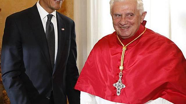 Papst Benedikt XVI begrüsst Barack Obama
