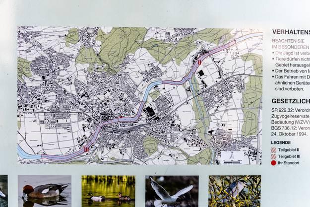 Stand Up Paddle Verbot auf der Aare: Die Karte zeigt, wo sich das Schutzgebiet befindet (rot markiert)