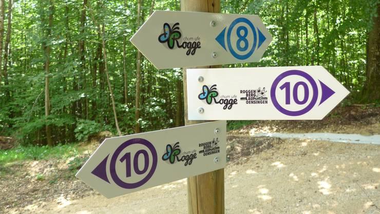 Mit speziellen Wegweisern werden die zehn Routen angezeigt.