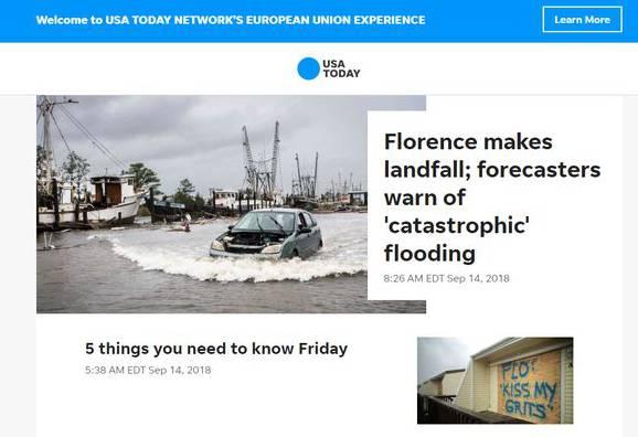 Auch als Schweizer landet man bei USA Today auf der abgespeckten, EU-konformen Seite.