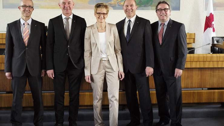 Die neue Baselbieter Regierung: Thomas Weber (SVP), Isaac Reber (Grüne), Sabine Pegoraro (FDP), Anton Lauber (CVP), Urs Wüthrich-Pelloli (SP).