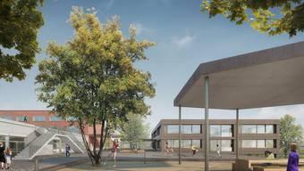 Das neue Schulhaus (rechts) wird an das bestehende Gebäude des Schulhauses Oberdorf angegliedert.