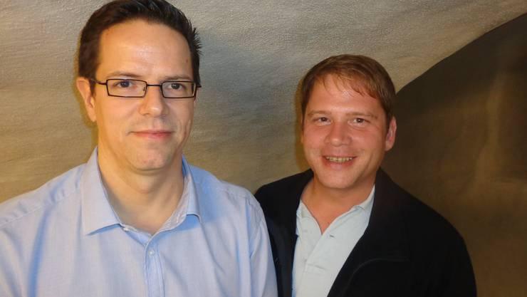 Von links nach rechts: Kandidieren am 22.9.2013: Marco Zaugg, Gemeinderat, bisher, Raphael Lemblé, Finanzkommission, neu.