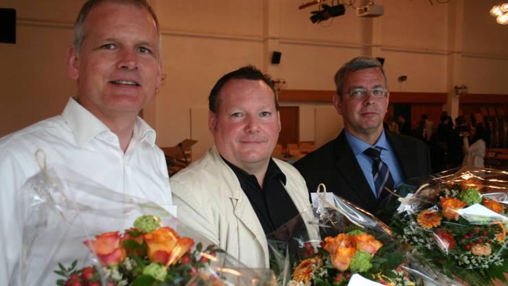Neu der höchste Schlieremer: Daniel Tännler (SVP) mit seinem ersten und zweiten Vizepräsidenten Daniel Frey (FDP/links) und Rolf Wegmüller (CVP/rechts).