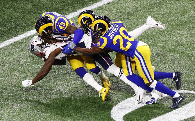 Super Bowl LIII (2019) in Atlanta – New England Patriots vs. Los Angeles Rams.