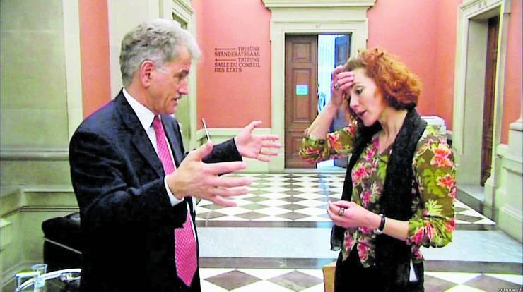 Maya Graf – hier mit Johannes Randegger (FDP/BS) – gehörte zu den Protagonisten des bekannten Dokumentarfilms «Mais im Bundeshuus»