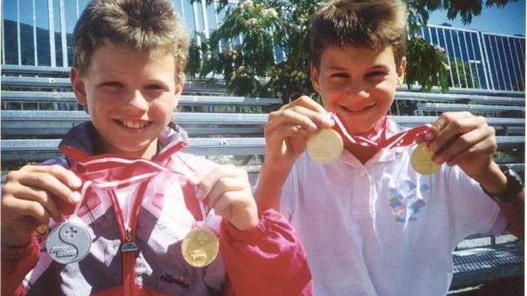 Sie gewannen 1995 das Doppel: Danny Schnyder und Roger Federer. HO