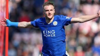 Jamie Vardy bejubelt den 1:0-Führungstreffer für Leicester gegen Sunderland. Am Ende siegte der Leader 2:0