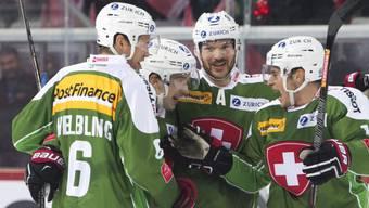 Viel Grund zum Jubeln hatten die in grünen Trikots spielenden Schweizer.