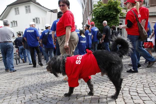 Sappi als dominantes Thema am 1. Mai-Umzug in Solothurn.