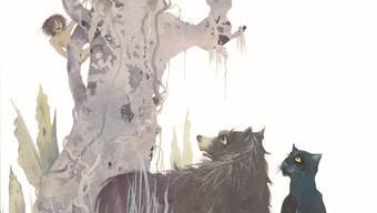 Mowgli Balu und Baghira, neu gesehen von Aljoscha Blau: Illustration aus der Neuausgabe des «Dschungelbuchs», die der Nordsüd- Verlag herausgebracht hat.