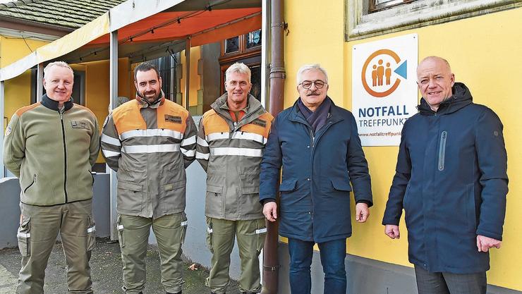 Von links: Thomas Lüthi, Chef Logistik RZSO, Beni Kuoni, Instruktor SO, André Ackermann, Stv. Chef Zivilschutz Kt. SO, Franco Giori, Kdt RZSO, und Martin Wey, Präs. Reg. Bevölkerungsschutz.