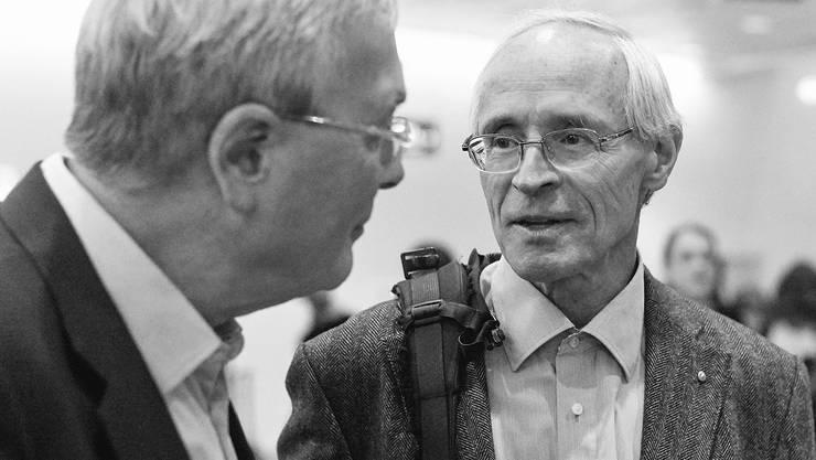 Martin Vosseler mit SP-Regierungsrat Christoph Brutschin am Wahlsonntag in Basel. Für die Wahl reichte es nicht, für die Aufmerksamkeit schon.