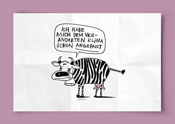 «Die Lieblingstemperatur der Kuh liegt zwischen 4 und 16 Grad Celsius. Aber auch Menschen leiden unter Hitzewellen. Jene von 2003 (Juni bis August) liess die Sterblichkeitsrate um 7 % ansteigen.» Jede der Zeichnungen kommt mit einer kurzen, sachlichen Erklärung des Solothurnischen Amts für Umwelt.