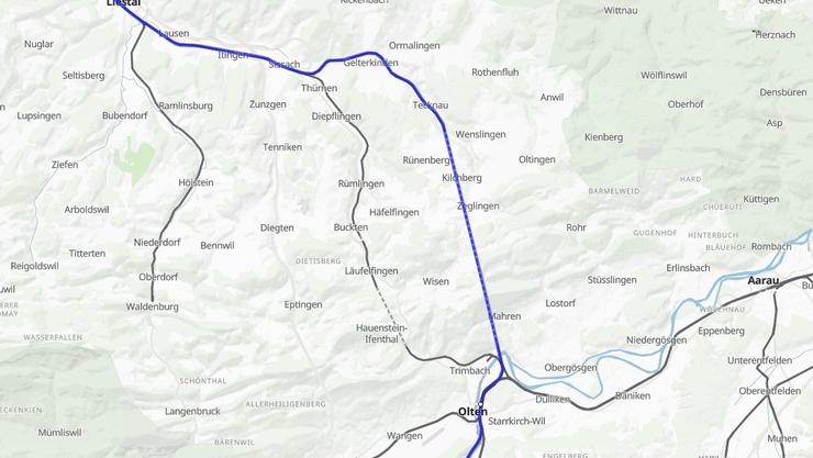 Die Fernverkehrszüge Bern-Olten-Basel SBB fahren nicht wie gewohnt via Tecknau-Gelterkinden (siehe blaue Linie), sondern via Läufelfingen.