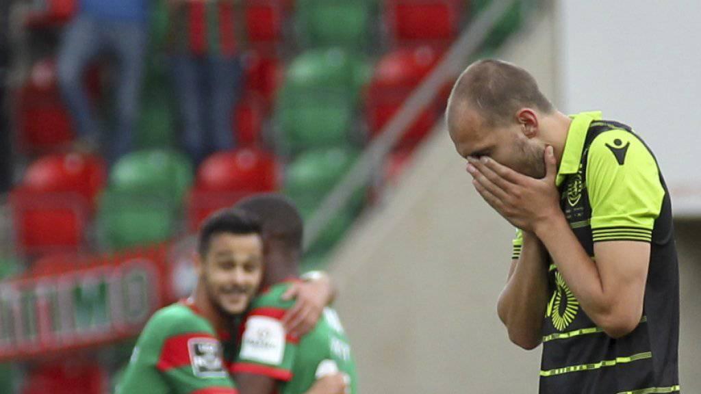 Bas Dost (rechts) wurde auf dem Trainingsgelände von Sporting Lissabon von Vermummten am Kopf verletzt