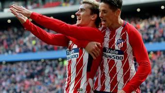 Antoine Griezmann und Fernando Torres jubeln beim Heimsieg gegen Las Palmas