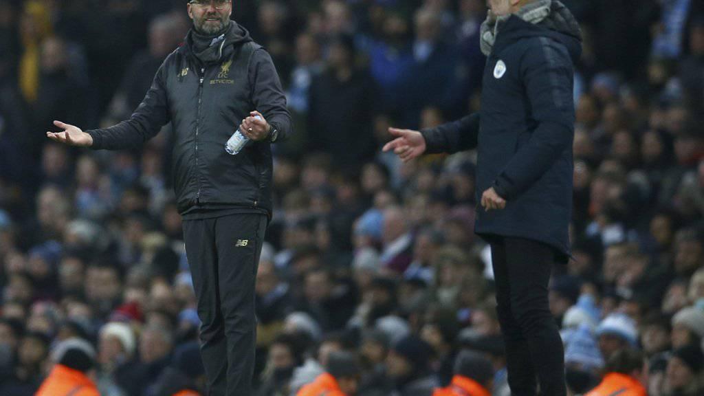 Manchester City gegen Liverpool ist auch das Duell der beiden Star-Trainer: Pep Guardiola glückte mit den Citizens im achten Anlauf erst der zweite Sieg gegen Jürgen Klopp und Liverpool