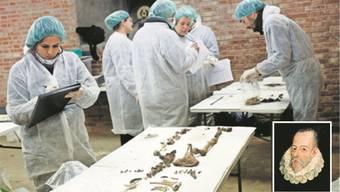 Die Knochen, welche die Forscher gefunden haben, sind schlechter erhalten als erhofft. Ob sie wirklich von Cervantes (kleines Bild) stammen?