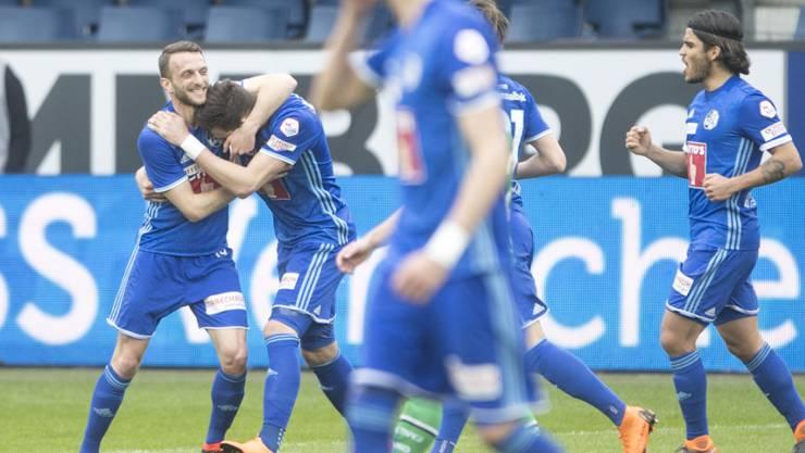 Die Luzerner zeigen einen Freudentanz gegen St. Gallen