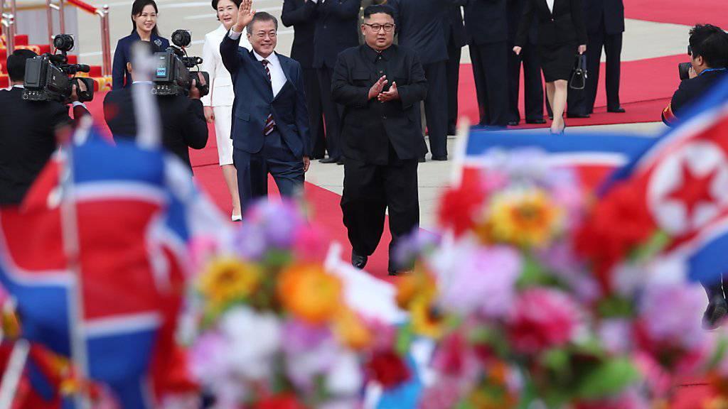 Machthaber Kim Jong Un und seine Frau begrüssen Moon Jae In und seine Gattin am Flughafen von Pjönjang. (Foto: PYONGYANG PRESS CORPS / POOL)