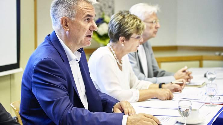 Regierungsrat und Bildungsdirektor Alex Hürzeler bei der Medienkonferenz zum Schuljahresanfang im Aargau im zeka Zentrum in Aarau