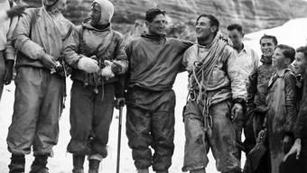Die vier jungen Alpinisten Heinrich Harrer, Ludwig Vörg, Andreas Heckmair und Fritz Kasparek (von links nach rechts)