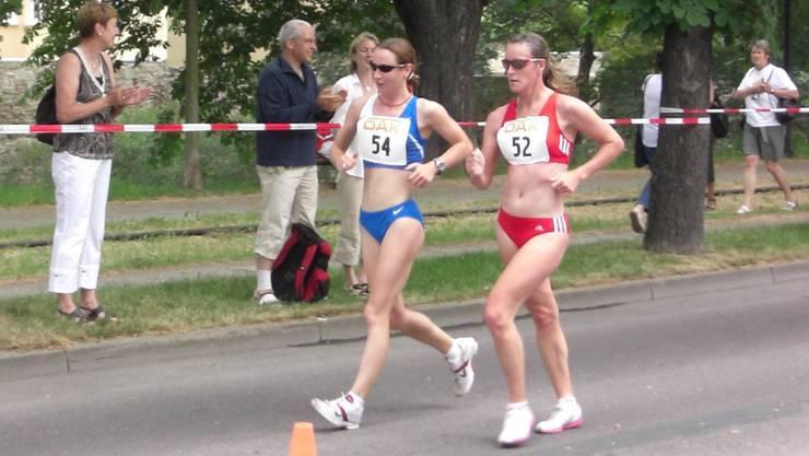 Sabine Krentz (links) bei einem Wettkampf 2008 in Naumburg