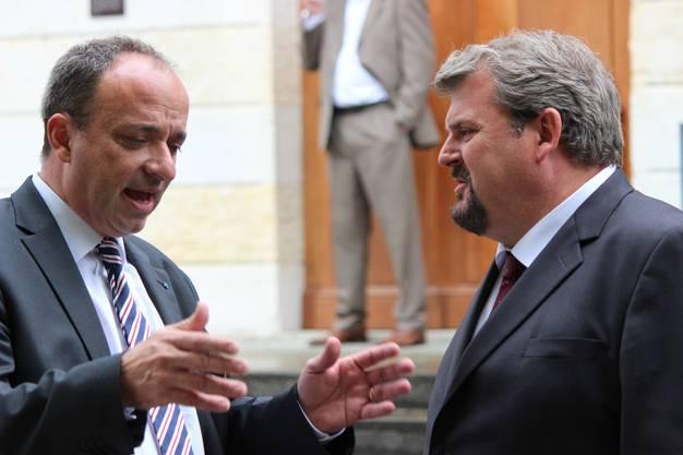 Markus Dieth (links) im Gespräch mit Mike Müller