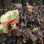 Demonstranten in Sofia fordern den Rücktritt der Regierung. Foto: Valentina Petrova/AP/dpa/Archiv