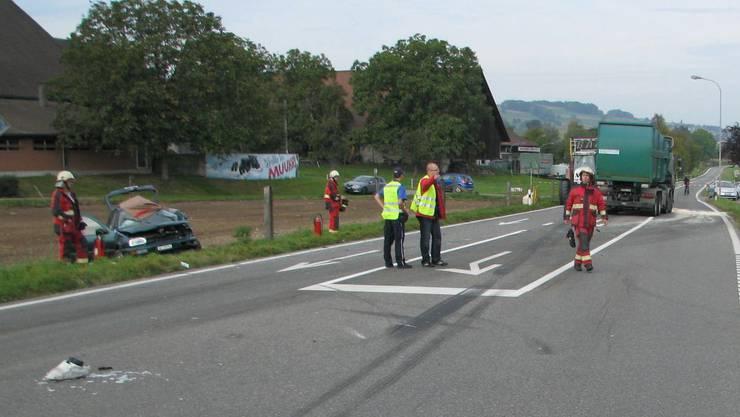 Die Unfallstelle ausserhalb von Muri. (Bild: Kapo AG)