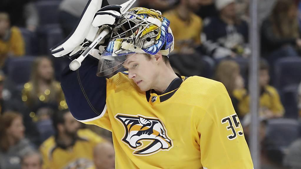 Die Nashville Predators (im Bild Goalie Pekka Rinne) kassierten nach dem Trainerwechsel eine 2:6-Heimniederlage gegen die Boston Bruins