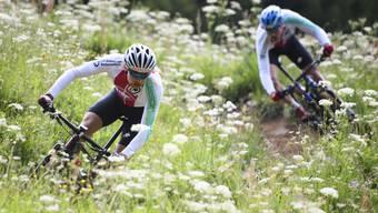 Schon im Juni, als die Alpenblumen prächtig blühten, bereiteten sich die Schweizer Mountainbiker auf der WM-Strecke vor.