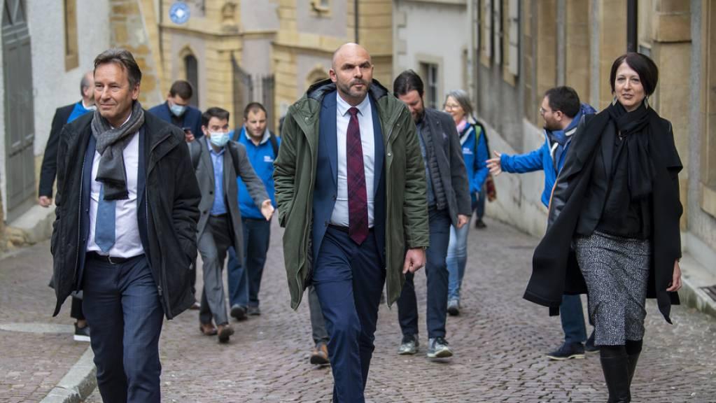 In Führung: die FDP-Kandidaten Alain Ribaux, Laurent Favre und Crystel Graf.