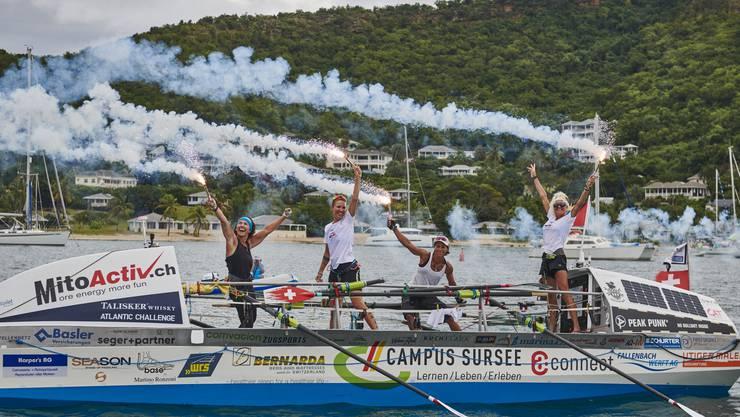 Die vier Schweizerinnen kommen auf Antigua an.