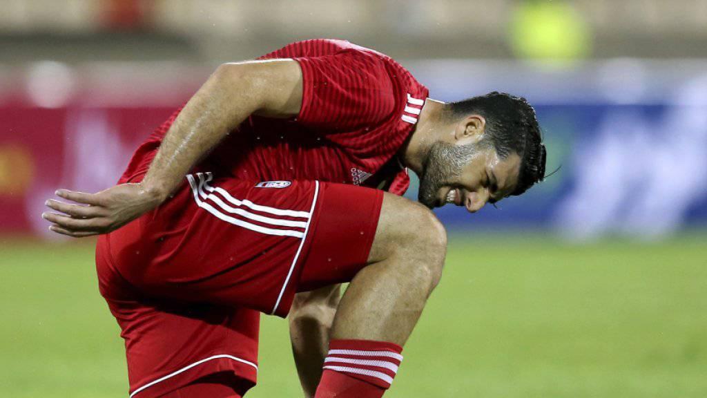 Irans Nationalspieler Mehdi Taremi und seine Teamkollegen werden an der WM aufgrund der Wirtschaftssanktionen der USA nicht in ihren gewohnten Nike-Schuhen auflaufen können