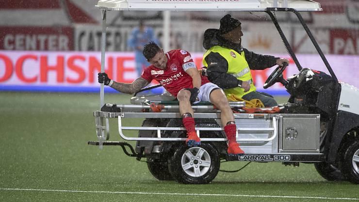 Dennis Hediger erlitt in der Partie am 10. Februar 2019 zwischen Thun und den Young Boys eine schwere Knieverletzung