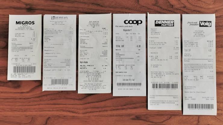 Der Beleg der Migros ist für drei eingekaufte Produkte mit 16 Zentimetern am kürzesten, derjenige von Volg mit 24 Zentimetern am längsten.