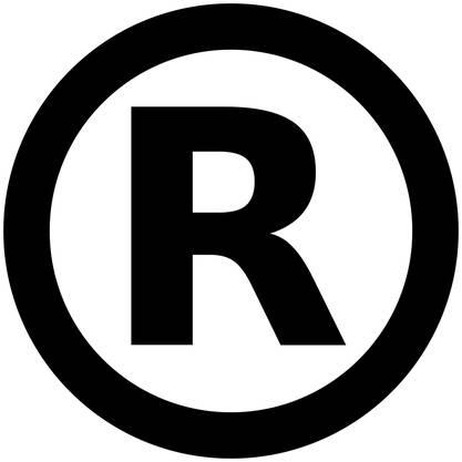 Der Schutzrechtsvermerk zeigt an, dass eine Marke registriert ist.