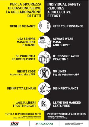 Plakat aus einem Tilo-Zug: Hier werden Handschuhe zusätzlich zu Masken empfohlen. Die Empfehlung gilt aber für Italien.